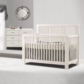 Rustico 2 Piece Nursery Set Crib and Double Dresser in White