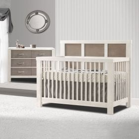 Rustico Moderno 3 Piece Nursery Set Crib, Double Dresser & 5 Drawer Dresser in White and Owl