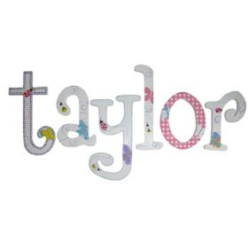 Taylor Cute Bugs Hand Painted Wooden Wall Letters