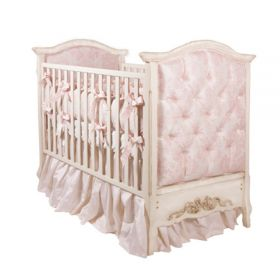 Bordeaux French Panel Pink Damask Upholstered Crib