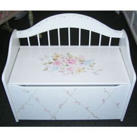 Pink Flowered Hand Painted Toy Chest