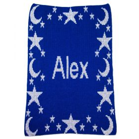 Metallic Night Time Sky & Name Stroller Blanket