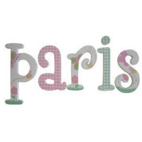 Paris Outdoors and Gingham Haand Painted Wooden Wall Letters