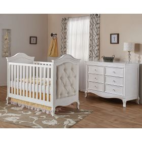 Diamante Collection 2 Piece Nursery Set Classic Crib and Double Dresser