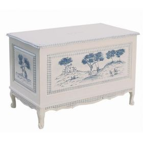 French Toy Chest in Blue Country Toile