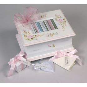 Memory Handpainted Keepsake Box with Pink Flowers