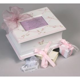 Memory Handpainted Keepsake Box with Pink Ribbon Florals
