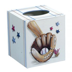 Baseball Handpainted Tissue Box