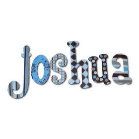 Joshua Blue Chocolate Hand Painted Wooden Wall Letters