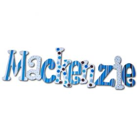 Mackenzie Peek a Blue Hand Painted Wooden Wall Letters