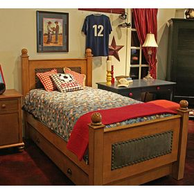 River Kids Bed with Fabric & Nail Heads