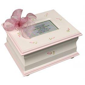 Memory Handpainted Keepsake Box in Pink with Rosebuds