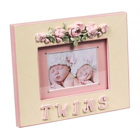 Twins Pink and Green Floral Handpainted Picture Frame