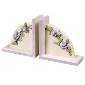 Lavender and Green Floral Handpainted Bookends