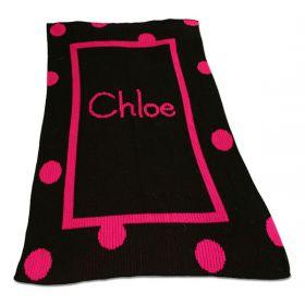 Large Polka Dot and Straight Inner Border Blanket with Monogram or Name
