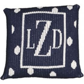 Precious Polka Dot Monogrammed Initial Pillow with Border