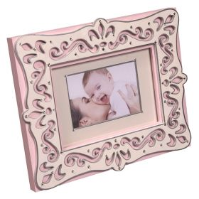 Pink and Creme Handpainted Wooden Bling Picture Frame