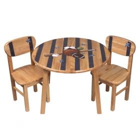 Sports Fanatic Handpainted Natural Wooden Round Table and Chairs