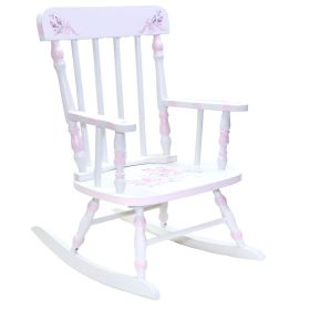 White Floral Spindle Handpainted Wooden Rocker