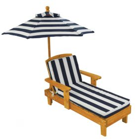 Kids Personalized Outdoor Chaise Lounge Chair with Blue Stripe Fabric