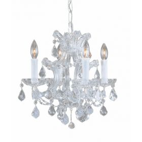 Polished Chrome Steel Chandelier with Hand Polished Crystals