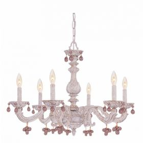 Antique White Wrought Iron Large Chandelier with Rose Murano Crystals