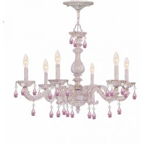 Antique White Metal Chandelier with Rose Colored Hand Polished Crystals