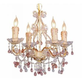 Paris Flea Market Mini Chandelier in Champagne with Pink Murano Crystals