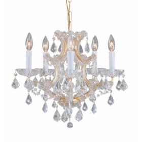 Gold Steel Small Chandelier with Hand Polished Crystals