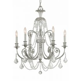 Olde Silver Wrought Iron Large Chandelier with Hand Polished Crystals