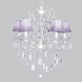 Five Arm Whimsical Beaded Chandelier in White with Lavender Shades