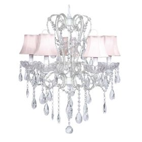 Five Arm Whimsical Beaded Chandelier in White with Pink Shades