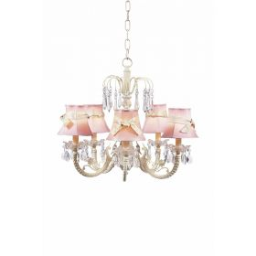 Five Arm Waterfall Chandelier with Plain Pink Shades and Ivory Sash