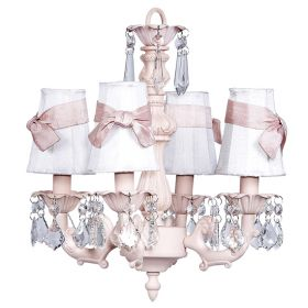 Four Arm Fountain Chandelier in Pink with White Shades and Pink Sashes