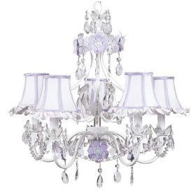 Five Arm Flower Garden Chandelier in Lavender & White with Lavender & White Ruffled Shades
