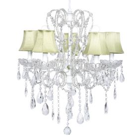 Five Arm Whimsical Beaded Chandelier in White with Sage Green Shades