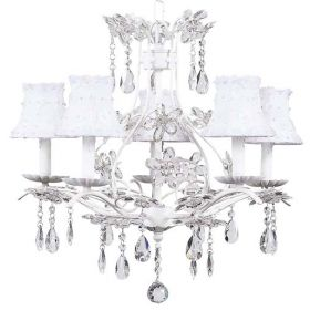 Five Arm Cinderella Chandelier in White with White Petal Flower Shades