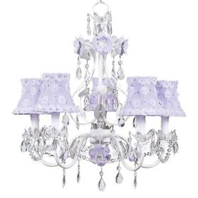 Five Arm Flower Garden Chandelier in Lavender & White with Lavender Petal Shades