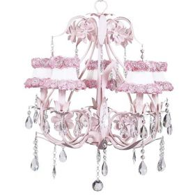 Five Arm Ballroom Chandelier in Pink with White Ring of Roses Shades