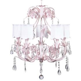 Five Arm Ballroom Chandelier in Pink with Scalloped White Shades