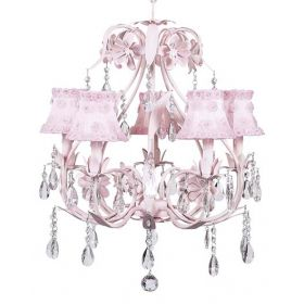 Five Arm Ballroom Chandelier in Pink with Pink Petal Flower Shades