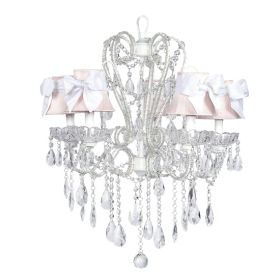 Five Arm Whimsical Beaded Chandelier in White with Pink Shades and White Sashes