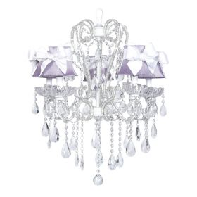 Five Arm Whimsical Beaded Chandelier in White with Lavender Shades with White Sashes