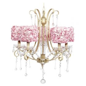 Five Arm Colleen Ivory Chandelier with Pink Rose Garden Shades