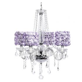 Four Arm Middleton Glass Chandelier with Lavender Rose Garden Shades
