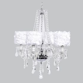 Four Arm Middleton Glass Chandelier with White Rose Garden Shades