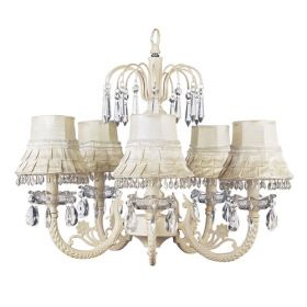 Five Arm Waterfall Chandelier with Ivory Dangle Shade
