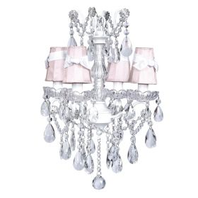 Four Arm Crystal Glass Center Chandelier in White with Pink Shades and White Sashes