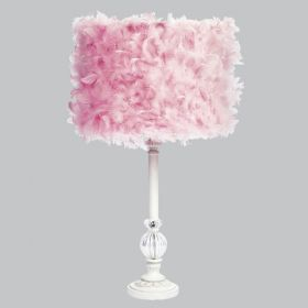 White Large Glass Ball Table Lamp with Pink Feather Drum Shade