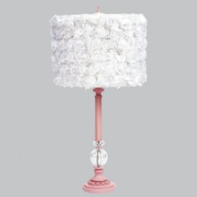 Pink Large Glass Ball Table Lamp with White Rose Garden Drum Shade